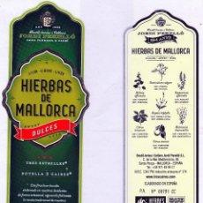 Etiquetas antiguas: ETIQUETAS : LICOR TIPICO DE HIERBAS DULCES TRES CAIRES,LLUBI(MALLORCA),JORDI PERELLÒ. Lote 62605620
