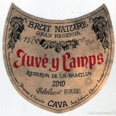 Etiquetas antiguas: ETIQUETA CAVA JUVÉ Y CAMPS.: BRUT NATURE-GRAN RESERVA. RESERVA DE LA FAMILIA. 2010.NUMERADA.1,5L. Lote 62614032