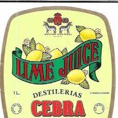 Etiquetas antiguas: ETIQUETA DE LIME JUICE. DESTILERIAS CEBRA. CEBREROS. AVILA.. Lote 62857616