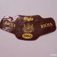 Etiquetas antiguas: ETIQUETA DE BOTELLA VINO DE RIOJA SIGLO 1986. TDKP8. Lote 137377553