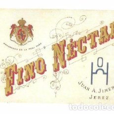 Etiquetas antiguas: ETIQUETA DE VINO FINO NÉCTAR. JUAN A. JIMENEZ. JEREZ.. Lote 62942108