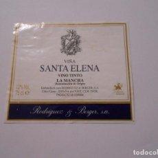 Etiquetas antiguas: ETIQUETA VIÑA ELENA. VINO TINTO. LA MANCHA DENOMINACION DE ORIGEN. RODRIGUEZ & BERGER. TDKP8. Lote 62964292