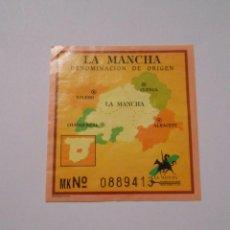 Etiquetas antiguas: ETIQUETA GARANTIA VINO DENOMINACION ORIGEN LA MANCHA. TDKP8. Lote 62964344