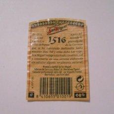 Etiquetas antiguas: CONTRA ETIQUETA CONTRAETIQUETA BOTELLA SAN MIGUEL 1516. TDKP8. Lote 62964464
