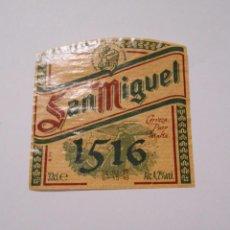 Etiquetas antiguas: ETIQUETA DE BOTELLA DE CERVEZA SAN MIGUEL 1516. AÑO 1999. TDKP8. Lote 62964984