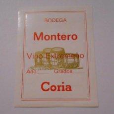 Etiquetas antiguas: ETIQUETA BODEGA MONTERO. VINO EXTREMEÑO. CORIA. TDKP8. Lote 62965044