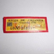 Etiquetas antiguas: ETIQUETA GARANTIA VINO DENOMINACION ORIGEN CALIFICADA RIOJA. CONSEJO REGULADOR COSECHA 1986. TDKP8. Lote 62965504