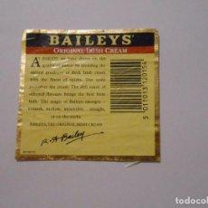 Etiquetas antiguas: CONTRA ETIQUETA CONTRAETIQUETA BOTELLA BAILEYS ORIGINAL IRISH CREAM AÑOS 80. TDKP8. Lote 62966048