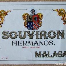 Etiquetas antiguas: ETIQUETA DE VINO SOUVIRON HERMANOS MALAGA. Lote 63289236