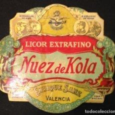 Etiquetas antigas: ETIQUETA NUEZ DE COLA LICOR EXTRAFINO. Lote 64931583