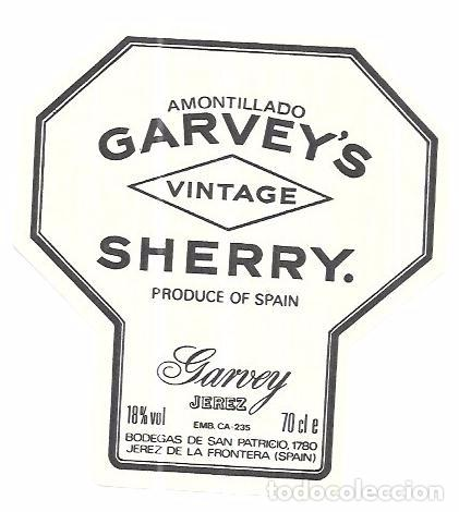 ETIQUETA DE VINO AMONTILLADO GARVEY´S. SHERRY. GARVEY JEREZ. BODEGAS SAN PATRICIO. JEREZ. (Coleccionismo - Etiquetas)