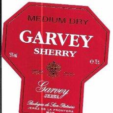 Etiquetas antiguas: ETIQUETA DE VINO MEDIUM DRY. GARVEY SHERRY. GARVEY JEREZ. BODEGAS DE SAN PATRICIO. JEREZ. Lote 66289290