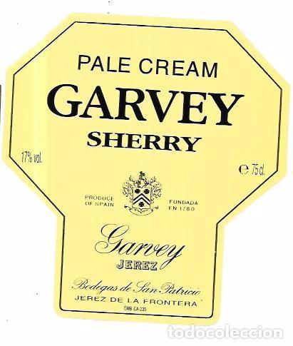 ETIQUETA DE VINO PALE CREAM GARVEY SHERRY. GARVEY JEREZ. BODEGAS DE SAN PATRICIO. JEREZ. (Coleccionismo - Etiquetas)