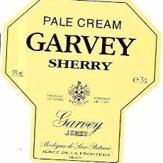 Etiquetas antiguas: ETIQUETA DE VINO PALE CREAM GARVEY SHERRY. GARVEY JEREZ. BODEGAS DE SAN PATRICIO. JEREZ.. Lote 66289418