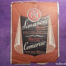 Etiquetas antiguas: ETIQUETA DE HOTEL PARA MALETAS - AÑOS 50 - HOTEL SIMANCAS, BADAJOZ - HOSTAL COIERCIO - MÉRIDA. Lote 66373166