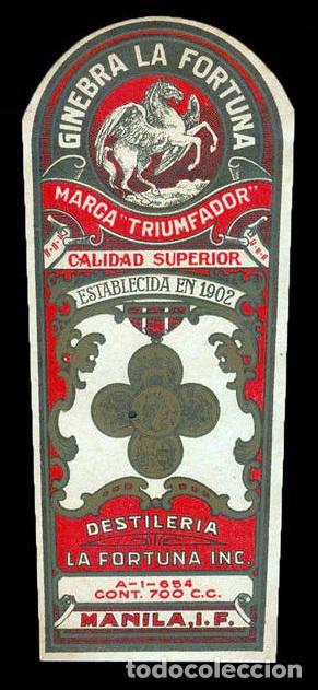 Etiquetas antiguas: Etiqueta original de ginebra La Fortuna Triumfador, Manila, Filipinas. Años 30. Raro. - Foto 2 - 67065866