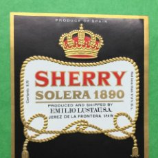 Etiquetas antiguas: ETIQUETA EMILIO LUSTAU - SHERRY SOLERA 1890 - CREAM - JEREZ. Lote 67546185