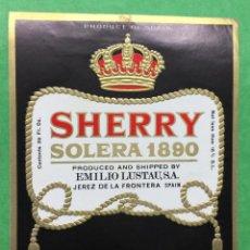 Etiquetas antiguas: ETIQUETA EMILIO LUSTAU - SHERRY SOLERA 1890 - AMONTILLADO - JEREZ. Lote 67546317