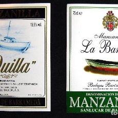 Etiquetas antiguas: 2 ETIQUETAS MANZANILLA LA QUILLA Y LA BARQUITA - BODEGAS BARÓN S.A SANLUCAR DE BARRAMEDA. Lote 67679513