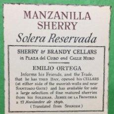 Etiquetas antiguas: ETIQUETA MANZANILLA SHERRY SOLERA RESERVADA - EMILIO ORTEGA - EMILIO LUSTAU - JEREZ. Lote 68319873