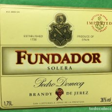 Etiquetas antiguas: ETIQUETA DE BRANDY FUNDADOR - SOLERA - PEDRO DOMECQ - JEREZ. Lote 68877537