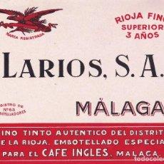 Etiquetas antiguas: LARIOS MÁLAGA PARA EL CAFÉ INGLÉS PRINCIPIOS SIGLO XX. Lote 114713376
