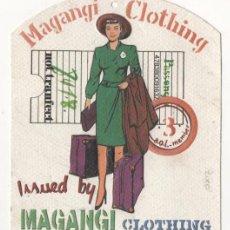 Etiquetas antiguas: ANTIGUA ETIQUETA DE ROPA MAGANGI CLOTHING. Lote 71050017