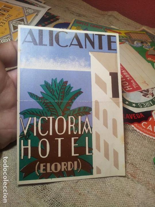 ETIQUETA HOTEL- ALICANTE - HOTEL VICTORIA -ELORDI-96 X 135 MM (Coleccionismo - Etiquetas)