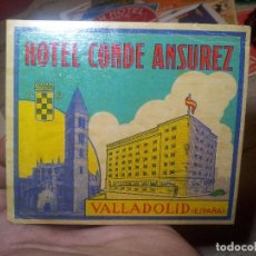 Etiquetas antiguas: - ETIQUETA HOTEL CONDE ANSUREZ, VALLADOLID- REVERSO ENGOMADO COLECCION PARTICULAR . Lote 71164337