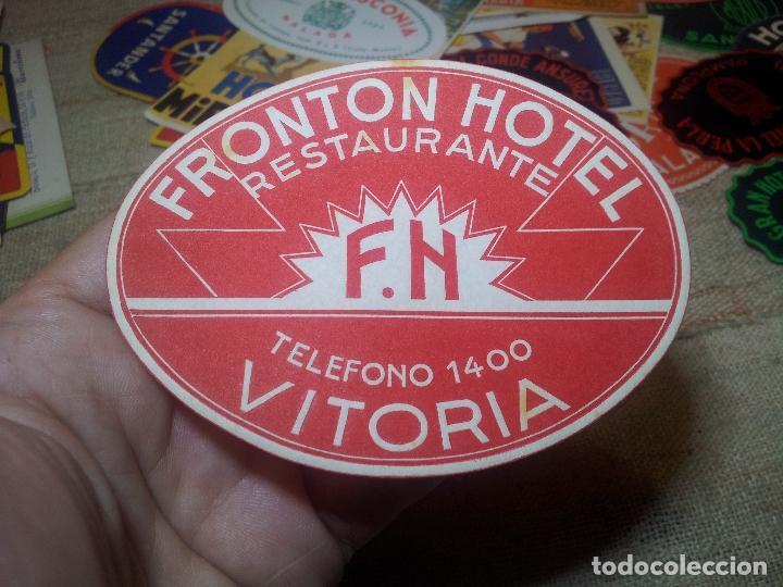 FRONTON HOTEL RESTAURANTE VITORIA REVERSO ENGOMADO COLECCION PARTICULAR (Coleccionismo - Etiquetas)
