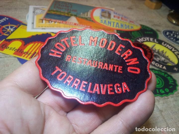 Etiquetas antiguas: - ETIQUETA HOTEL MODERNO TORRELAVEGA- REVERSO ENGOMADO COLECCION PARTICULAR - Foto 3 - 71165957