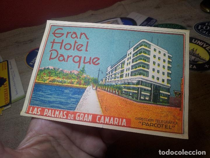 ETIQUETA GRAN HOTEL PARQUE LAS PALMAS GRAN CANARIA - REVERSO ENGOMADO COLECCION PARTICULAR (Coleccionismo - Etiquetas)