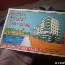 Etiquetas antiguas: ETIQUETA GRAN HOTEL PARQUE LAS PALMAS GRAN CANARIA - REVERSO ENGOMADO COLECCION PARTICULAR . Lote 71166845