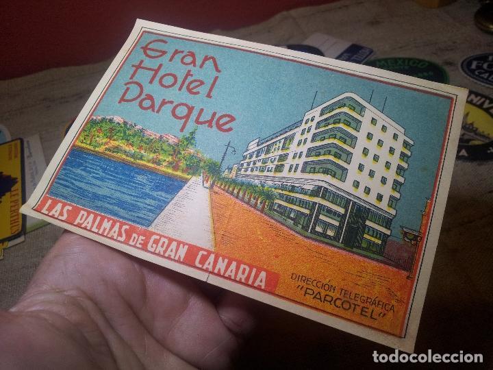 Etiquetas antiguas: ETIQUETA GRAN HOTEL PARQUE LAS PALMAS GRAN CANARIA - REVERSO ENGOMADO COLECCION PARTICULAR - Foto 2 - 71166845