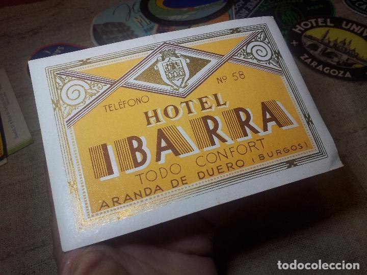 ETIQUETA HOTEL IBARRA DE ARANDA DE DUERO, BURGOS ..REVERSO ENGOMADO--ORIGINAL (Coleccionismo - Etiquetas)