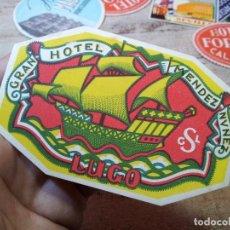 Etiquetas antiguas: - ETIQUETA HOTEL MENDEZ NUÑEZ LUGO - REVERSO ENGOMADO COLECCION PARTICULAR . Lote 71168717