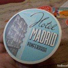 Etiquetas antiguas: - ETIQUETA HOTEL MADRID PONFERRADA - REVERSO ENGOMADO COLECCION PARTICULAR . Lote 71168893