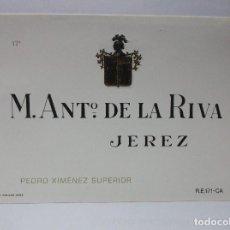 Etiquetas antiguas: ETIQUETA DE VINO DE UNA BODEGA DE JEREZ DE LA FRONTERA. ANTIGUA.. Lote 72321947