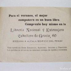 Etiquetas antiguas: HOJA PUBLICITARIA DE MANO DE LA LIBRERIA NACIONAL Y ESTRANJERA DE CABALLERO DE GRACIA 60. MADRID. Lote 73130907