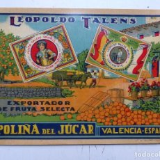 Etiquetas antiguas: ANTIGUA ETIQUETA DE NARANJAS - LEOPOLDO TALENS - POLIÑA DE JUCAR, VALENCIA. Lote 269814748