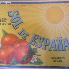 Etiquetas antiguas: ANTIGUA ETIQUETA DE NARANJAS SOL DE ESPAÑA 29X25. Lote 75114595