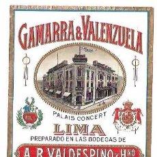 Etiquetas antiguas: ETIQUETA DE GAMARRA & VALENZUELA. LIMA. BODEGAS A. R. VALDESPINO Y HNO. JEREZ.. Lote 74918151