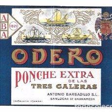 Etiquetas antiguas: ETIQUETA DE PONCHE EXTRA DE LAS TRES GALERAS. ODERO. ANTONIO BARBADILLO. SANLUCAR BARRAMEDA. Lote 74926975