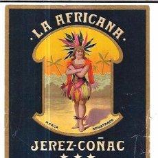 Etiquetas antiguas: ETIQUETA DE JEREZ - COÑAC. LA AFRICANA. EMBOTELLADO PARA PEREIRA, BRUGO Y CIA. MONTEVIDEO.. Lote 74947331