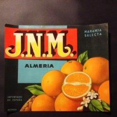Étiquettes anciennes: ETIQUETA DE NARANJA O NARANJAS J.N.M APROX 28X24 ALMERIA. Lote 75078323