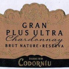 Etiquetas antiguas: ETIQUETA : CODORNIU GRAN PLUS ULTRA. CHARDONNAY. BRUT NATURE-RESERVA .VINTAGE 2014 (17-163). Lote 75082779