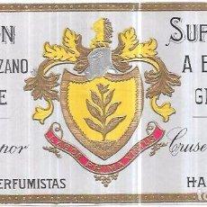 Etiquetas antiguas: ETIQUETA DE JABÓN FLOR DE MANZANO. SUPERFINO A BASE DE GLICERINA. CRUSELLAS HNO. Y CIA. HABANA. Lote 75283367