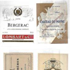 Etiquetas antiguas: LOTE DE 386 ETIQUETAS DE COÑACS, VINOS Y CHAMPAGNE FRANCESAS. SUPERPUESTAS EN HOJAS. VER FOTOS. Lote 77214257