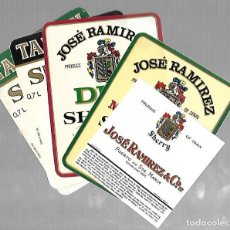 Etiquetas antigas: LOTE DE 5 ETIQUETAS DE VINOS. JOSE RAMIREZ & CO. DIFERENTES. VER FOTOS. Lote 77289305