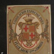 Etiquetas antiguas: ETIQUETA - FABRICACION ESPECIAL -FELIX SAENZ -TEJIDOS - (V-9508). Lote 78615865